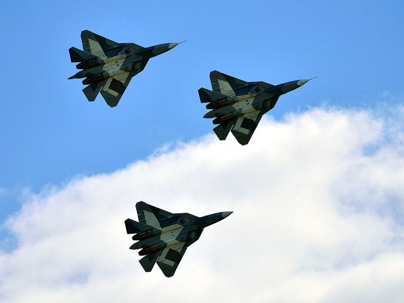 Т-50 ПАК ФА. Групповой пилотаж. МАКС-2013. Авиашоу 65.
