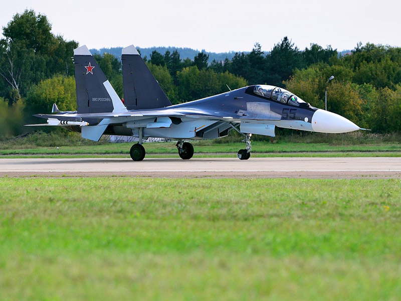 Су-30СМ. Посадка. Авиашоу 48.