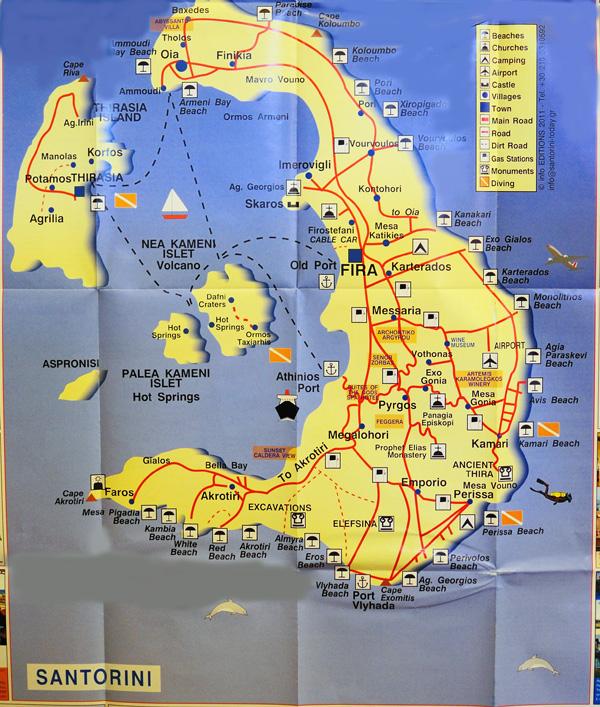 Карта острова Санторини. 59