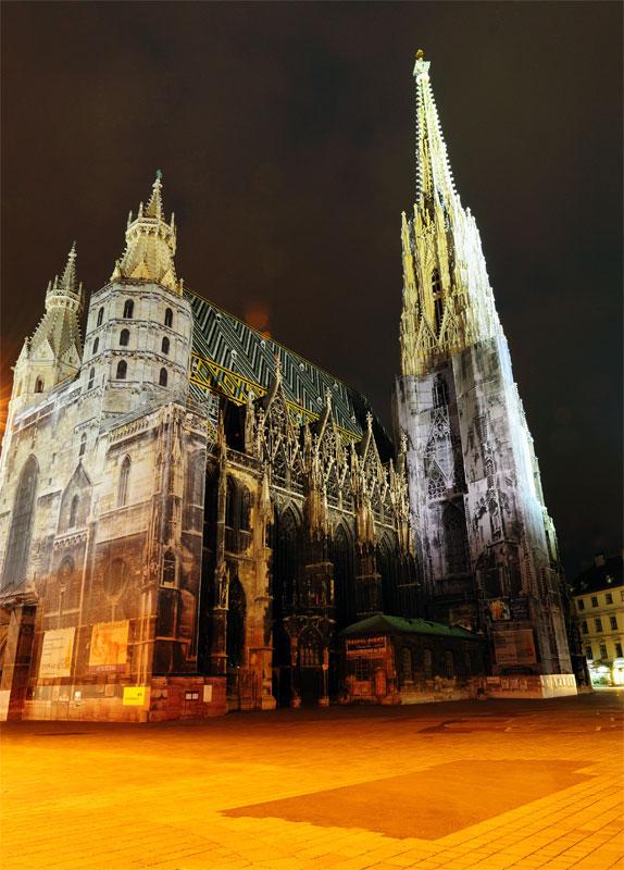 Вена. Собор Св. Стефана ночью. Vienna. Night Stefansdom. 24