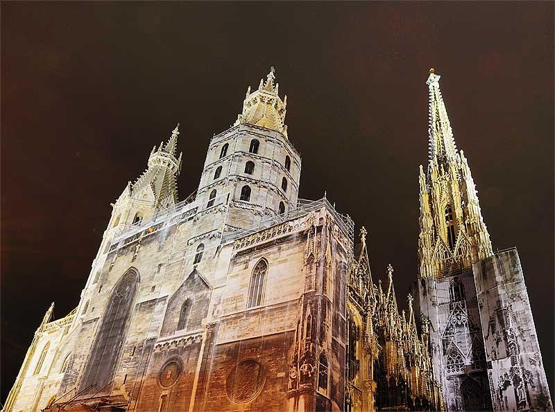 Вена. Собор Св. Стефана ночью. Vienna. Night Stefansdom. 25