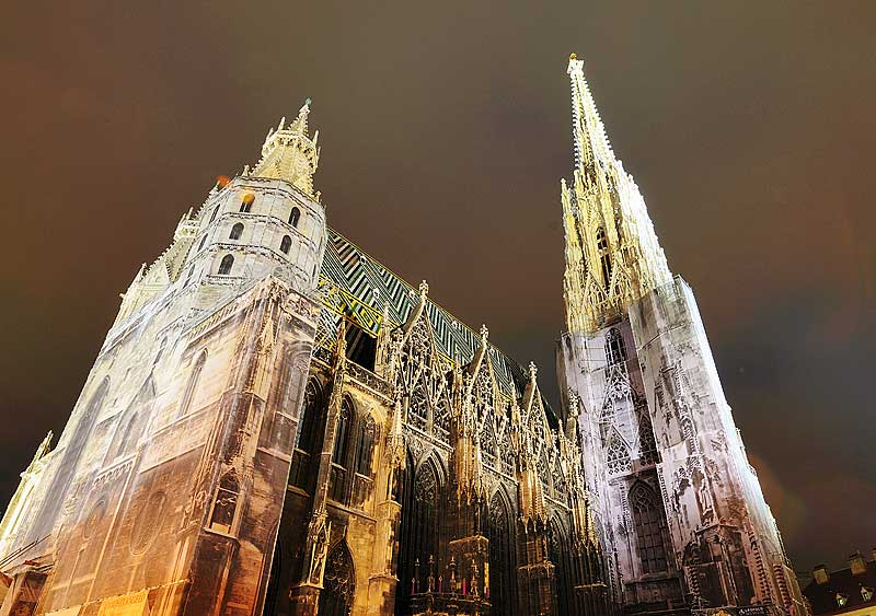 Вена. Собор Св. Стефана ночью. Vienna. Night Stefansdom. 26