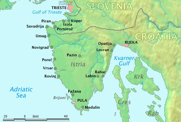 Хорватия. Истрия. Карта. Croatia. Istria.