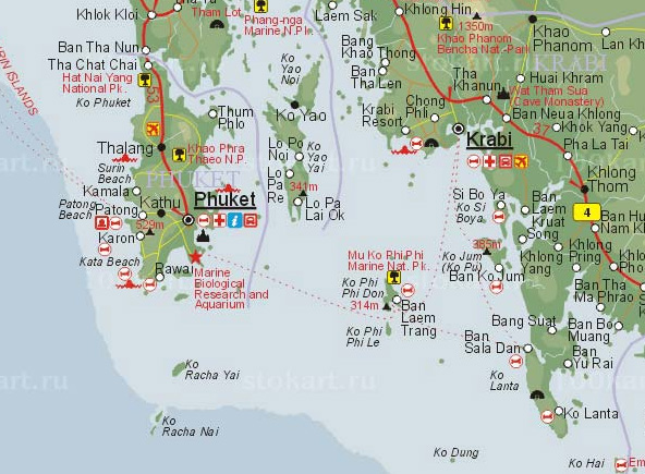 Южный Таиланд. Карта. 2