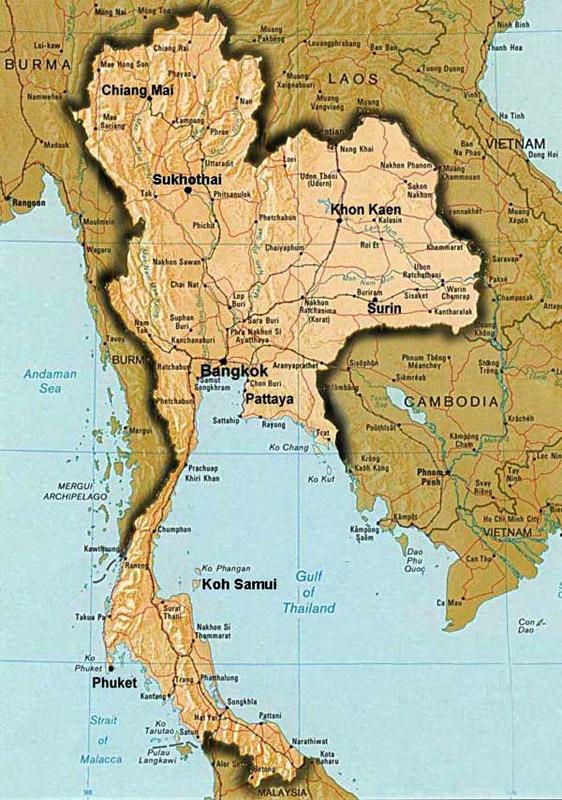 Карта Таиланда. Паттайя 1.