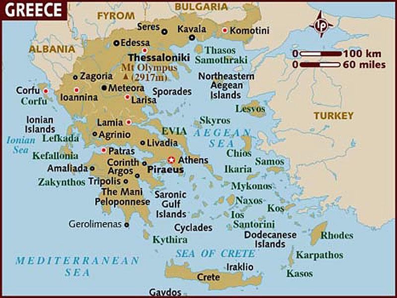 Греция. Санторини. Карта. 2